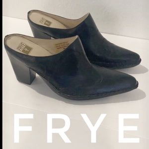 Authentic Frye black leather western mules Sz 8